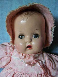 "17"" Sweet VINTAGE BABY DOLL marked HORSEMAN vinyl BODY HARD Plastic head"