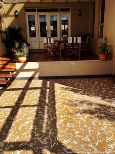 Large Porch with Stenciled Concrete Floor Finishes - Royal Design Studio stencils