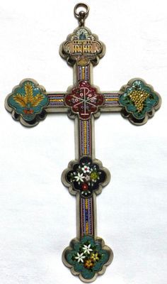 Vintage Pope Pius XI 1922 - 1939 Micro Mosaic Crucifix Cross Rome Italy x Pope Pius Xii, Old Rugged Cross, Christian Symbols, Religious Cross, Wall Crosses, Celtic Designs, Rome Italy, Murano Glass, Cross Pendant
