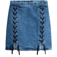 Denim Skirt with Lacing $49.99 (€43) ❤ liked on Polyvore featuring skirts, bottoms, lace up denim skirt, short blue skirt, a line skirt, knee length denim skirt and short a line skirt