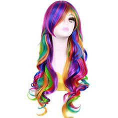 RightOn Women Girls 26 Long Wavy Rainbow Wig with Wig Cap * You can find out more details at the link of the image.Note:It is affiliate link to Amazon.