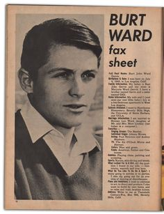 Happy Birthday to Burt Ward, who is most famous for being included on my list of the Hottest Men In Tights ever! Batman 1966, Batman Robin, Adam West Batman, Batman Tv Show, John Ward, Burt Ward, Family Information, Star Trek Tos, Tv Actors