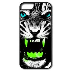 Animal Tiger With Green Teeth Plastic Case For Iphone5 5s Supply-Animals & Nature  Cases and More than 80 thousands of design ideas online, http://hicustom.net/ Find t-shirt and easily custom your own t-shirts .No Minimums, and Free Shipping.