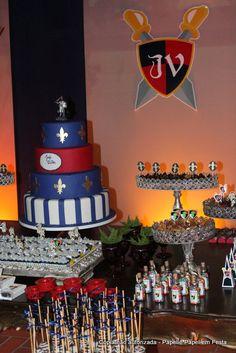Cavaleiro Medieval 9th Birthday Parties, Balloons, Birthdays, Cake, Desserts, Arches, Gabriel, Party Ideas, Good Ideas