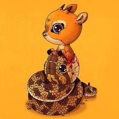 "Alex Solis (@alexmdc) en Instagram: ""Python & Antelope #adorablecircleoflife"