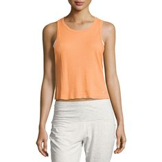 Alo Yoga Air Ribbed Workout Tank Top (360 BOB) ❤ liked on Polyvore featuring activewear, activewear tops, orange, red pullover, sweater pullover, alo yoga and cropped pullover