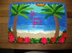 Summer- Palm Tree Cake Sheet Cake   Caroline's Cakes   Flickr Luau Cakes, Ocean Cakes, Party Cakes, Beach Themed Cakes, Beach Cakes, Hawaiian Birthday, Luau Birthday, Hawaiian Luau, Birthday Ideas