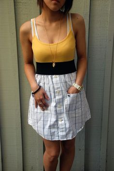 Upcycled dress made out of Abercrombie mens 100 by plumpicking Dress Shirt And Tie, T Shirt Diy, Diy Clothing, Sewing Clothes, Beautiful Outfits, Cool Outfits, Reuse Old Clothes, Diy Fashion, Fashion Outfits