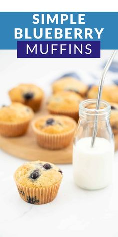 These are the best blueberry muffins ever! A very easy recipe with simple ingredients, but combined they make the most delicious muffin. #blueberrymuffins #muffins #kidssnacks Pear Muffins, Easy Blueberry Muffins, Baby Muffins, Blueberry Recipes, Blue Berry Muffins, Blueberry Breakfast, Simple Muffin Recipe, Healthy Muffin Recipes, Healthy Meals For Kids