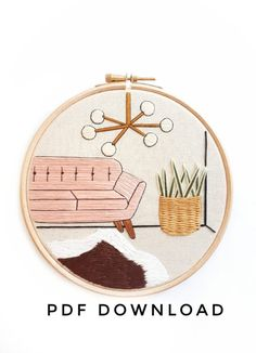 Mid Century Scene with Monstera & Rug Embroidery Pattern Diy Embroidery Kit, Embroidery Materials, Modern Embroidery, Embroidery Patterns, Diy Broderie, Art Textile, Pdf Patterns, Embroidery Techniques, Diy Kits