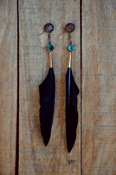 Black Night Feather Earrings