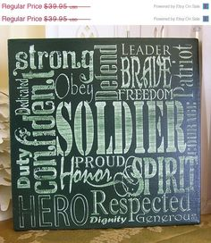 Mad-4-Grads Super Sale Honor our Soldier, Expressive Word Canvas via Etsy
