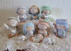 Vintage Bumpkins Nativity figurines by Fabrizio for George Good, set of 10 Christmas figurines Christmas Figurines, Christmas Ornaments, Christmas Clay, Precious Moments Figurines, Pink Bird, Polymer Clay Miniatures, Christmas Decorations, Holiday Decor, Pattern Books