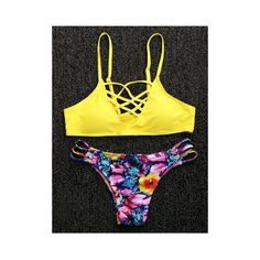 Fashionable Spaghetti Strap Criss Cross Floral Print Women s Bikini... ($12) ❤ liked on Polyvore featuring swimwear, bikinis, floral-print bikinis, criss cross bikini, criss-cross swimwear, bikini beachwear and bikini swimwear
