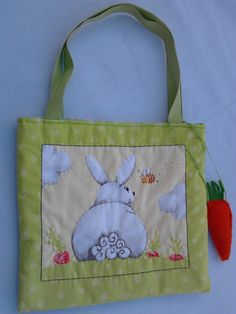 Spring bunny bags with added vitamin A! Handmade with a felted carrot just in case Chester gets hungry. Fully lined with hard-wearing straps. All sold out!