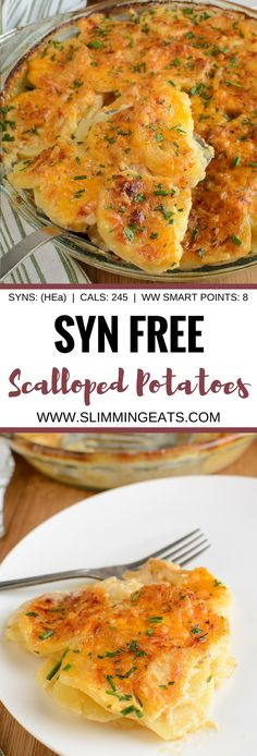 Slimming Eats Syn Free Scalloped Potatoes - gluten free vegetarian Slimming World and Weight Watchers friendly astuce recette minceur girl world world recipes world snacks Slimming World Dinners, Slimming World Recipes Syn Free, Slimming World Diet, Slimming Eats, Slimming World Desserts, Veggie Recipes, Diet Recipes, Cooking Recipes, Healthy Recipes