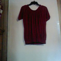 Red banded tee top Top has red Rose glitter studded pic  on  one sleeve Tops Blouses