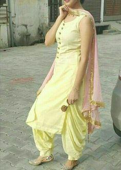 Latest Punjabi Suit Designs Salwar Suit Neck Designs, Silk Kurti Designs, Kurta Designs Women, Salwar Designs, Indian Gowns Dresses, Indian Fashion Dresses, Girls Fashion Clothes, Indian Outfits, Girl Fashion
