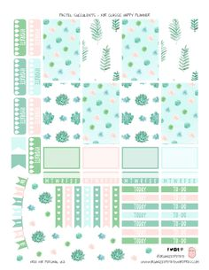 Free Printable Pastel Succulents Planner Stickers from Organized Potato