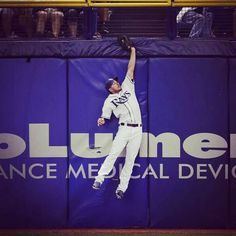Matt Joyce takes away an extra base hit against the Chicago White Sox on September 20, 2014. (And does it with his eyes closed!)