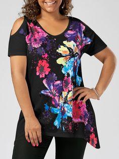 Plus Size Cold Shoulder Splatter Paint T-shirt - BLACK 5XL