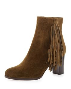 Jimmynetta Suede Fringe Ankle Boot, Olive by Christian Louboutin at Neiman Marcus.