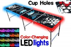 Professional Beer Pong Table w/ Optional Cup Holes, LED Lights, Dry Erase Surface & Party Pong Graphics - Choose Your Table Model, Gray Beer Table, Beer Pong Tables, Ping Pong Table, Led Glow Lights, Premium Beer, Epic Party, Color Changing Led, Best Beer, Table Games