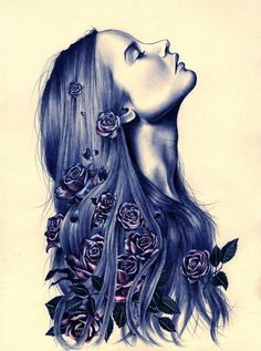 Roses In Her Hair - Surreal portrait drawing by Kate Louse Powell
