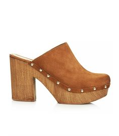 Topshop Smock Leather Mule Clogs in tan