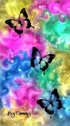 More colorful butterflies in flight of colorful light! Butterfly Wallpaper Iphone, Cellphone Wallpaper, Galaxy Wallpaper, Flower Wallpaper, Wallpaper Backgrounds, Iphone Wallpaper, Paper Butterflies, Butterfly Flowers, Beautiful Butterflies