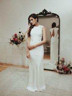 silk crepe modern wedding dress sarah seven
