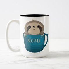 #Sloffee! Two-Tone Coffee Mug - #funny #coffee #quote #quotes