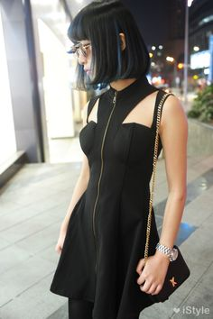 Futuristic little black dress