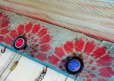 Floating shelves Recycled pallet wood wall organizer stenciled mandalas /hanging jewelry accent shelving /scarf hanger 3 knobs 4 red hooks by ThePovertyBarn on Etsy https://www.etsy.com/listing/231832471/floating-shelves-recycled-pallet-wood