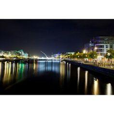 Samuel Beckett Bridge at night Liffey River Dublin Leinster Province Republic of Ireland Canvas Art - Panoramic Images (27 x 9)
