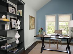 Blue Home Office Ideas - Calm & Cozy Home Office - Paint Color Schemes  Constellation on the left wall.