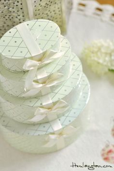 Wrap graduated boxes in the same paper and stack with gifts. A long piece of ribbon and a bit of masking tape to secure the boxes, will hold them in place.#giftwrap
