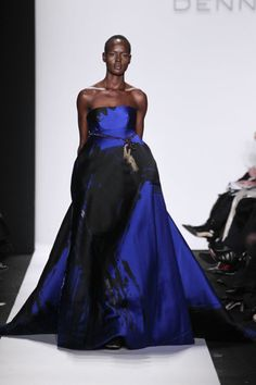 Fall 2014 – Dennis Basso royal blue and black ball gown