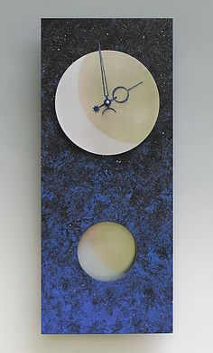 Moon at Night Pendulum Clock by Leonie Lacouette: Wood Clock available at www.artfulhome.com