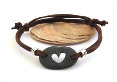 Teens Jewelry Beach Stone Heart Wrap Bracelet IT ROCKS LUV Mediterranean Beach Rock Bracelet Pebble Surfer Jewelry Engraved Heart Gray on Etsy, $22.50
