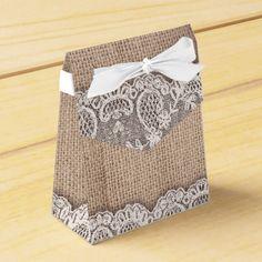 burlap and vintage lace wedding favor box