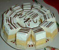 Rozi Erdélyi konyhája: Madártej szelet Hungarian Desserts, Hungarian Cake, Hungarian Recipes, Sweets Recipes, Easy Desserts, Cookie Recipes, Sweet Cookies, Cake Cookies, Different Cakes
