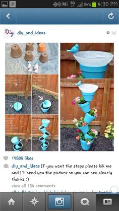 Diy flower pots blue funky diy weird cute garden flowers