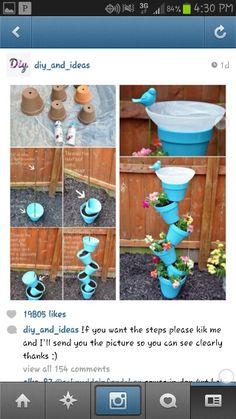 Diy flower pots blue funky diy weird cute garden flowers