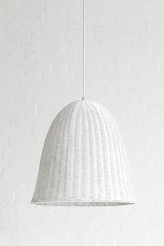 Large Rattan Pendant Light Shade White