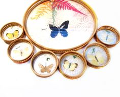 Vintage Tray & Coaster Set, Bamboo, Butterfly