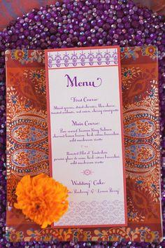 Sweet Paper designed Menu- Bryan Miller Photography- Bianca Weddings Concept-Exquisite Weddings Feature!