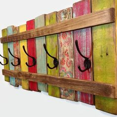 Wood Coat Rack OOAK Coat Hook \/ Shabby Cottage Beach Chic Bohemian Furniture \/ Ships from Canada by RiversideStudioON on Etsy Arte Pallet, Pallet Art, Diy Pallet, Pallett Ideas, Outdoor Pallet, Pallet Crafts, Wood Crafts, Crafts With Pallets, Bohemian Furniture