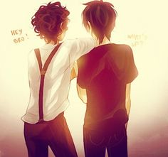 Nico Di Angelo and Leo Valdez or shall I say nico di angelbro and Leo valdbro *snickers*
