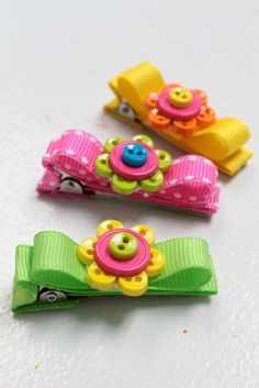 Set of 3 mini button flower hair clips by ForFinley on Etsy. $7.00 USD, via Etsy.